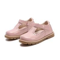 2017 Yeni Kızlar Prenses Ayakkabı Mary Jane Tarzı Moccasins Bebek kız Pembe Deri Ayakkabı Tenis Infantil Hollow Cut Out Boyutu 21-30