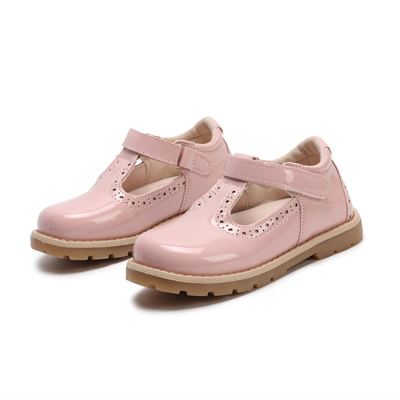 2018 New Girls Princess Shoes Mary Jane Style Moccasins Baby Girl Pink Leather Shoes Tenis Infantil Hollow Cut Out Size 21-30