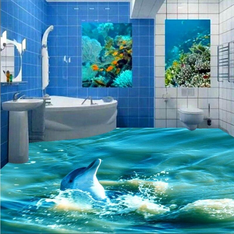 Бесплатная доставка игры воды дельфин спрей 3D ванная комната гостиная кухня офисной самоклеящиеся пол обои росписи