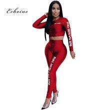 Echoine Two Piece Set Women Letter Offset Printing Elastic Long Sleeve Short Tops Pencil Pants Fashion Sport Suits Outwear