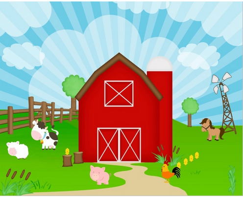 GoEoo 7x5ft Fall Farm Scenery Background Rustic Barn Countryside Wooden House Photography Backdrop Rural Fence Autumn Grass Sky Photo Studio Props Thanksgiving Holiday Party Decoration Vinyl Banner