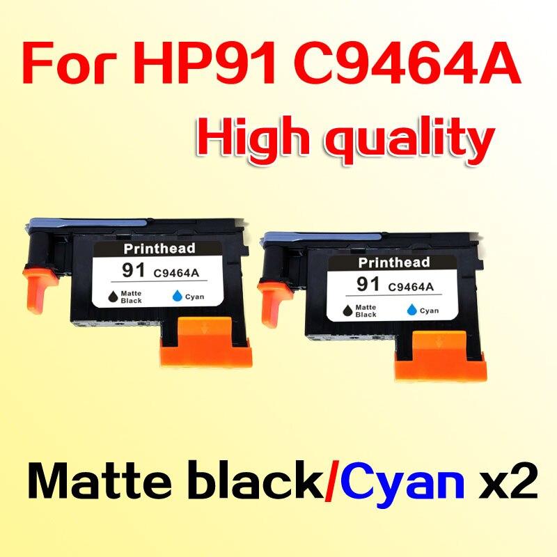 2pcs printhead compatible for hp91 for hp 91 C9464A Designjet Z6100 Z6100P Matte black Cyan
