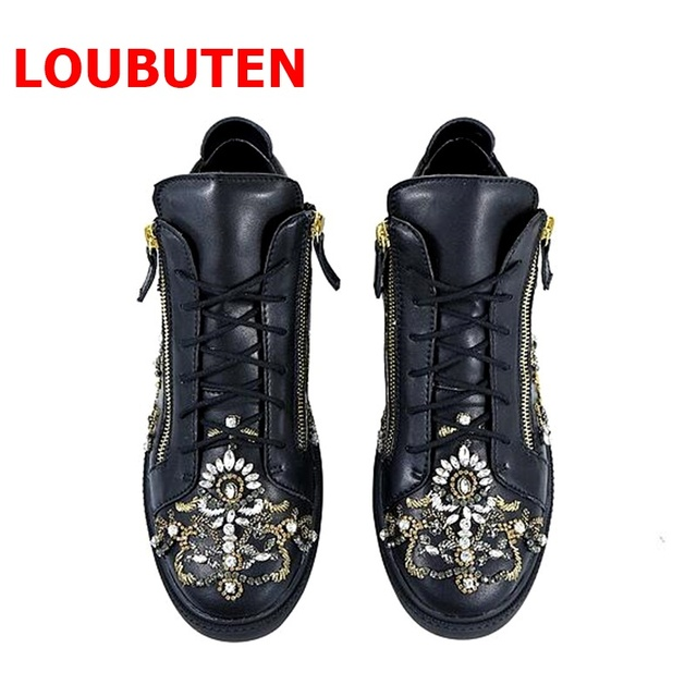 LOUBUTEN New Design Fashion Show Glitter Beaded Men Shoes Leather Flats Black Sneakers Lace-up Rhinestone High Top Sneakers