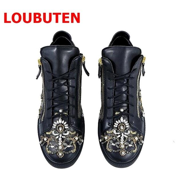 3df4e7eb0ba4 LOUBUTEN New Design Fashion Show Glitter Beaded Men Shoes Leather Flats  Black Sneakers Lace-up Rhinestone High Top Sneakers