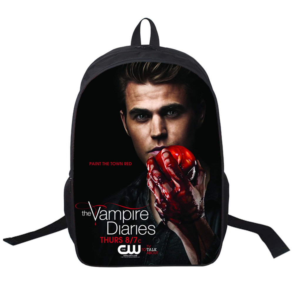 2018 Women Bags moive The Vampire Diaries Halloween Backpack Students School Bag For Girls Boys Rucksack mochila customize the vampire diaries vol 1