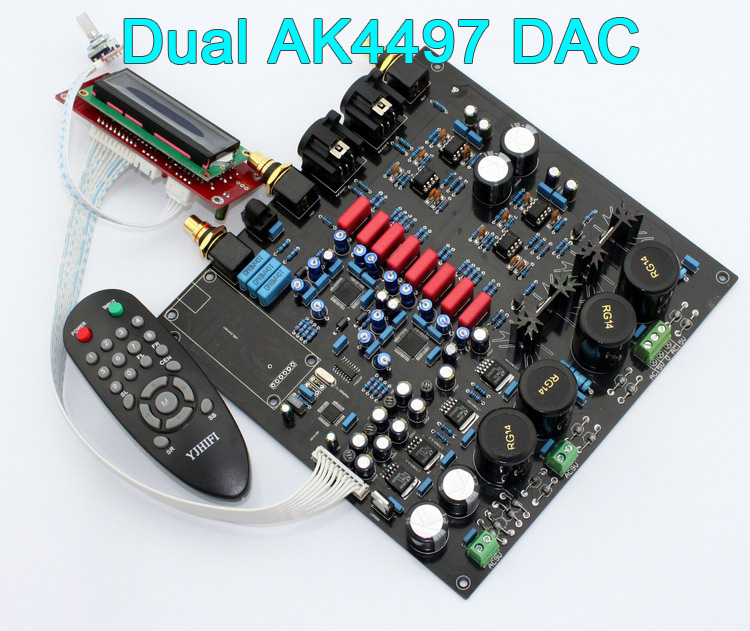 US $224 0  Deluxe Dual AK4497 AK4497EQ AK4118 32bit 384K DSD DAC W/ Remote  Control Amazing Sounding,Optional XMOS U8 USB,IN STOCK-in Amplifier from