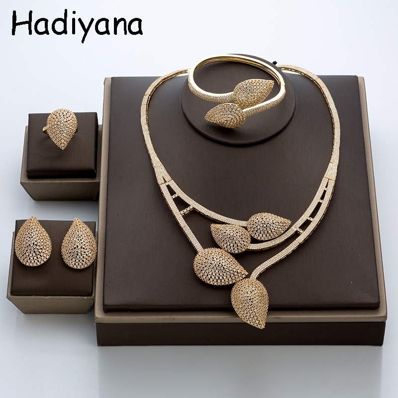Hadiyana African Big Oval Jewelry Set With Cubic Zicons New Necklace Earrings Bracelet Ring 4pcs Bridesmaid Wedding Sets TZ8019