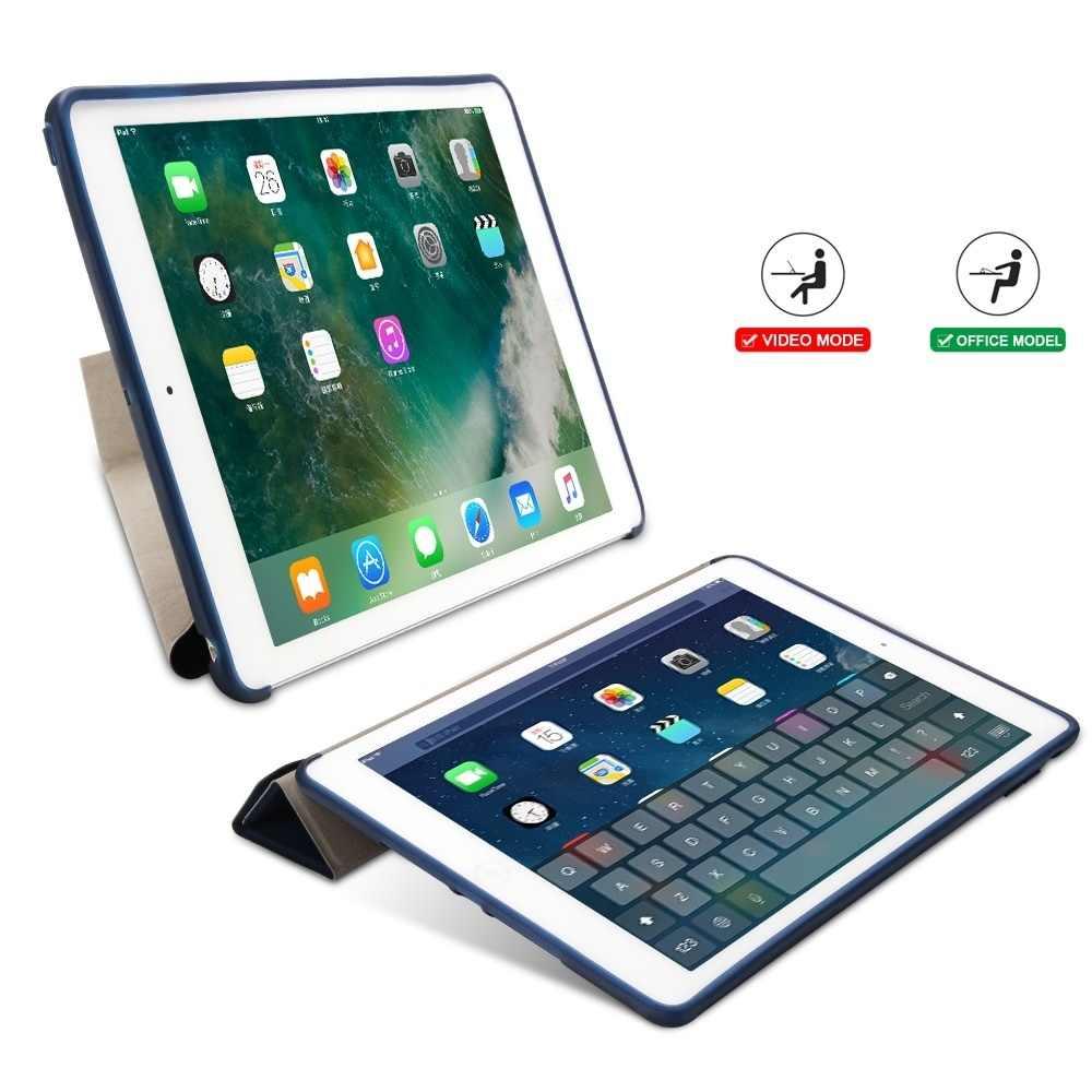 لباد برو 9.7 حالة ، غطاء ذكي مع سيليكون TPU لينة عودة متعددة أضعاف حامل أقراص حافظة لجهاز iPad برو 9.7 بوصة 2016 كوكه