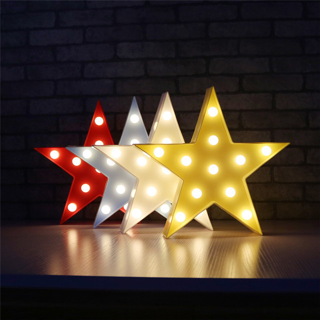Star Shape LED Night Light Marquee Sign Letters Table Lamps Home ...