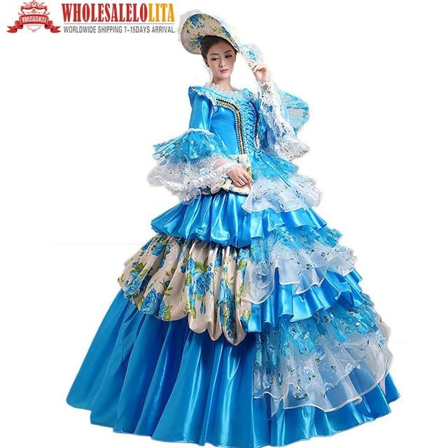 Top Verkauf frauen Blau Prom Gothic Viktorianischen Phantasie Palace ...