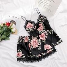 Summer Women Fashion Flower Pajamas Women Sleep