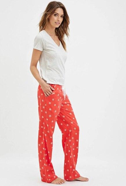 Женщин бренд пижамы-наборы женщины пижамы свободно красный снег хлопок пижамы женщины Sleepwears Homewears sml