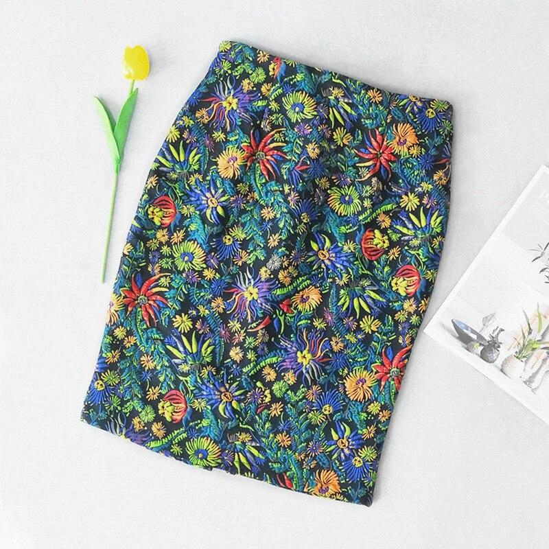 Spring Autumn Elegant Women Botanical Floral Pencil Skirt Vintage Slim Midi Skirts Women Faldas Mujer Femme Feminina 2019