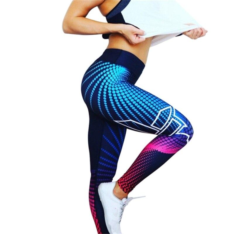 Fitness Leggings New Stripe 3D Printed Women Skinny High Waist Elastic Push Up Legging Workout Pants Leggins Лосины
