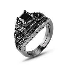 2019 Vintage rings Square CZ Paved Engagement Rings Sets Black Gold Color Crystal Wedding Jewelry For Women Ring 2 Rounds J02747 цена в Москве и Питере