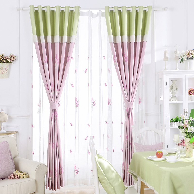 Bedroom Drapes Embroidery Fabric Drapes Blackout Door Curtains Custom Leaf  Blind Country Princess Window Panel Custom
