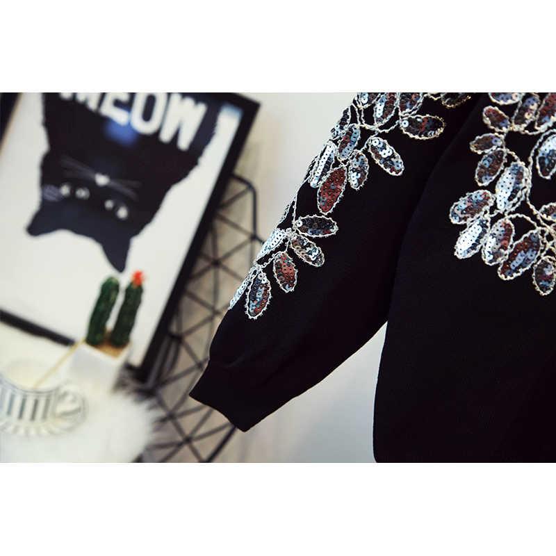 Высокое качество Новый 2018 Весна взлетно посадочной полосы костюм комплект для женщин ручной работы блестками цветочный вязаный свитер Топы ко