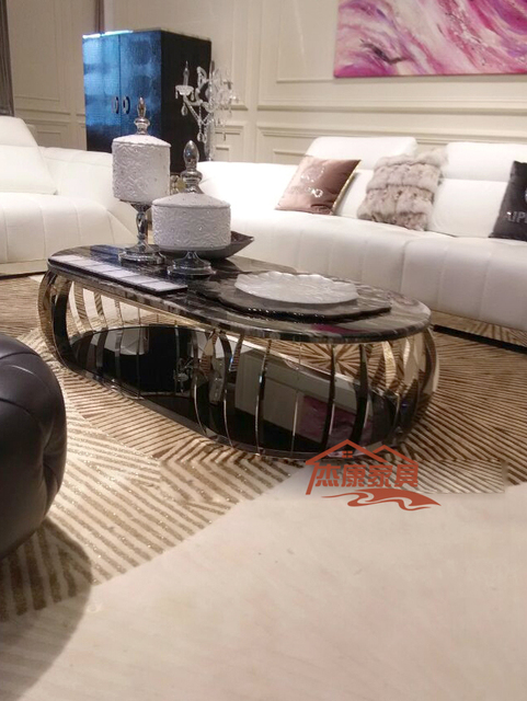 European And American Fashion New Oval Coffee Table Sofa Hotel