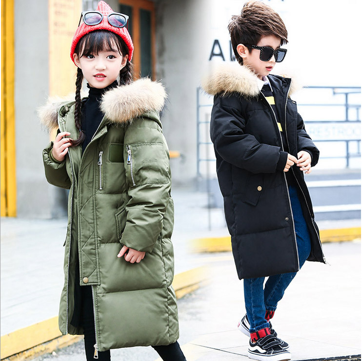 2017 design thick jackets detachable fur hooded duck down fluff kids boy girl coat overcoat for -40 degree Russia winter 2017 new design girl boy thick jackets real fur hooded long coat kids big girl for cold russia winter clothing dress overcoat
