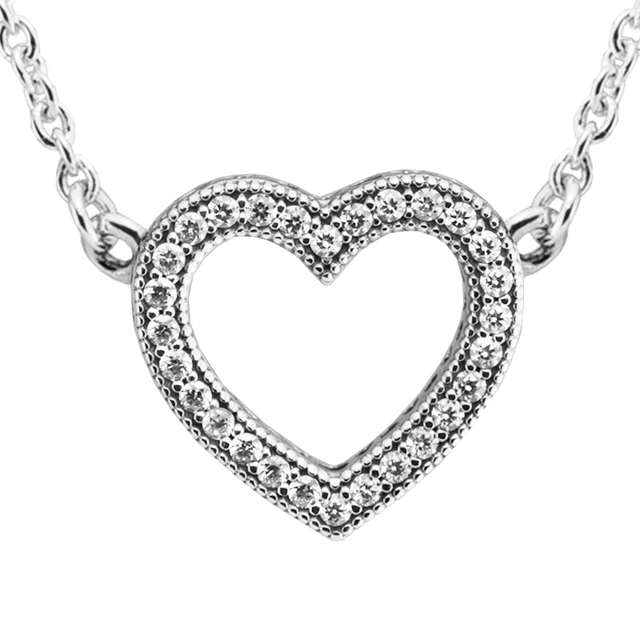 2017 Valentine's Day Necklace Women Loving Hearts Long Necklace Sterling Silver Jewelry Necklaces & Pendants With Clear CZ