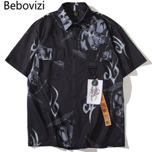 Bebovizi Hipster Print Shirts Mens Summer Vintage Short Sleeve Hawaiian Male Casual Streetwear Trending Shirt