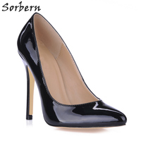 Sorbern Women Pumps Sexy 12CM Pointed Toe Real Image Ladies Party Shoes Patent Leather Custom Made Color Ladies Party Shoes