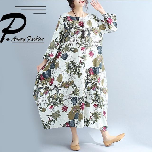 618a29af2fe Women's Lagenlook Cotton & Linen Floral Bud Long Dress Ladies Autumn Plus  Size Long Sleeve Jumper Loose Tunic Dress Vestidos