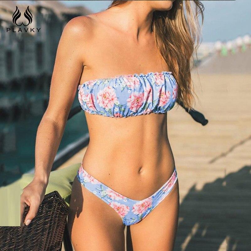 f73c345b7008 Sexy Vintage Floral Bandeau Bikini brasileño 2019 señora traje de baño  mujeres traje de baño ...
