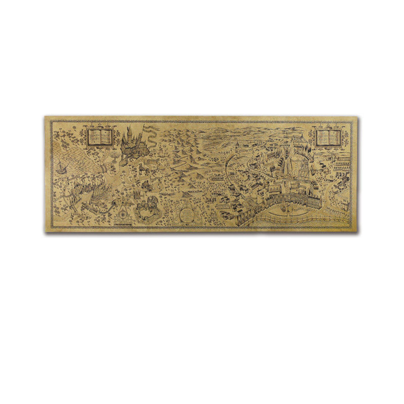 1PC Vintage Movie Maps 26.5cm*72cm Creative Kraft Paper Maps For DIY Decoration Scrapbooking School Supplies Stationery