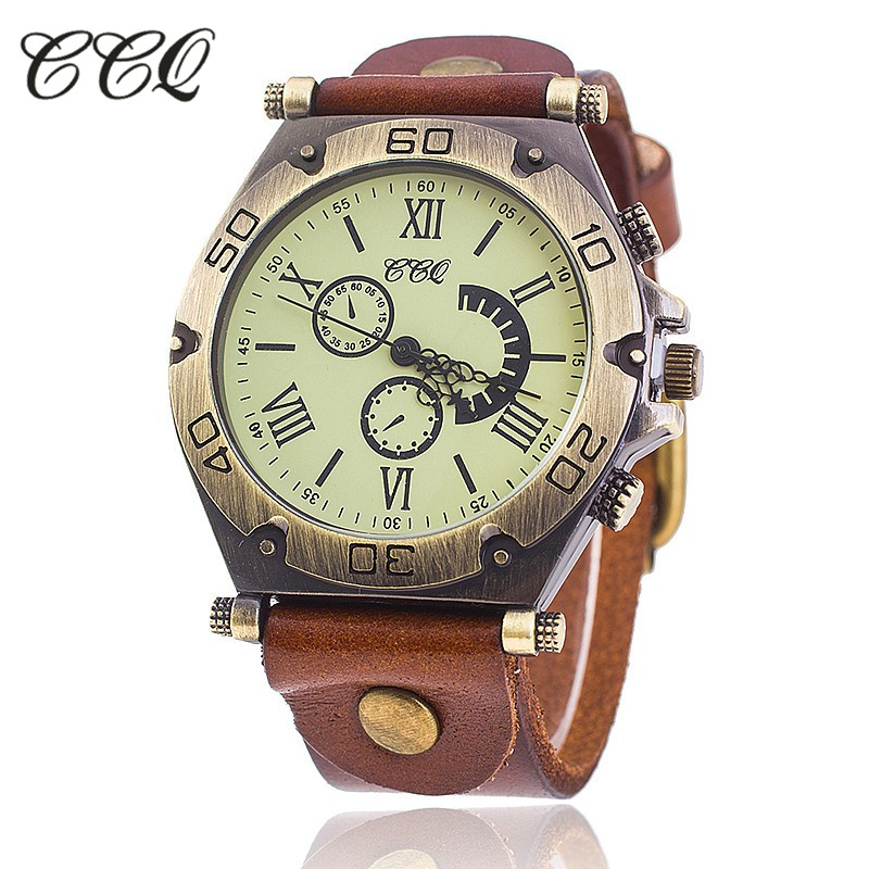 CCQ Brand Vintage Roman Cow Leather Bracelet Watch Casual Luxury Men WristWatch Quartz Watch Relogio Feminino Gift 1822 gorben brand classical silver polishing quartz men pocket watch round roman number necklace relogio de bolso gift men watch