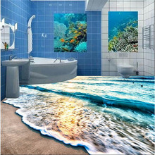 Modern 3D floor painting mural Beach blue sea water ripples non-slip waterproof thickened self-adhesive PVC floor Wallpaper roll