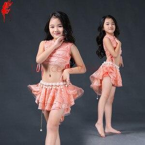 Image 2 - Meninas elegantes roupas de dança do ventre 2pcs(sleeveles top + saia) meninas terno criança Encantadora dança do ventre roupas de dança do ventre 3 cores S/L