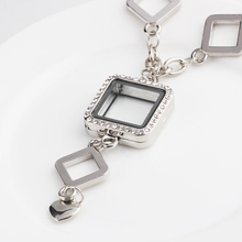 5 PCS Wholesale New Design Square glass memory floating locket charms necklace with Rhinestone Jewelry