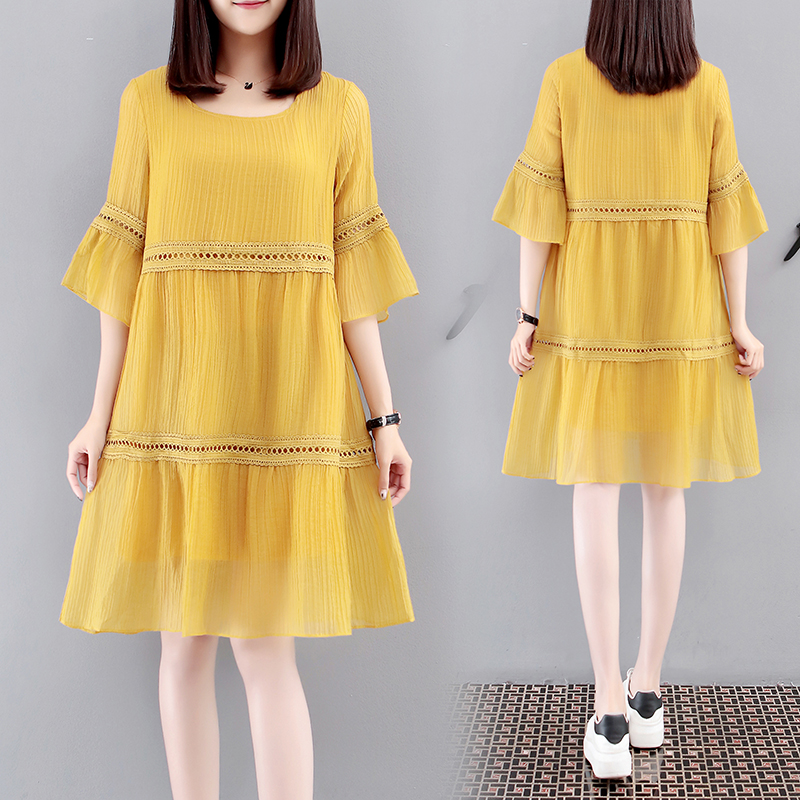 Plus Size 2018 New Summer Women dress Slim Chiffon A Word Long Dresses Blue Yellow White 1910