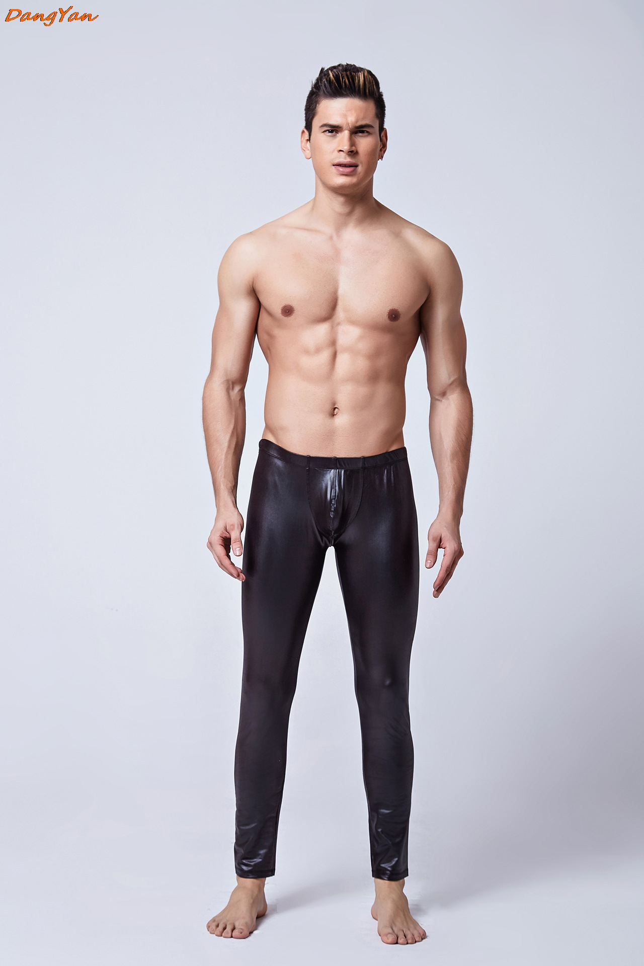 Buy Skinny Pants Patent Leather Leggings Men Latex Look like Sexy Trousers Gay Exotic Lingeries perform costume Stage Apparel