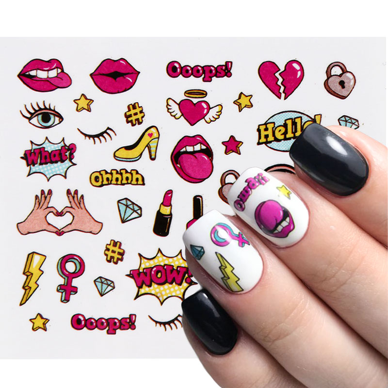 1pcs Nail Stickers Sliders Pop Cartoon Animals Lettering Water Decals Tattoo Wraps Foils Manicure 3D Nail Art Decor Designs TRWG