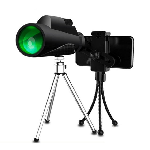 New 12X50 Monocular Telescope HD Night Vision Bak4 Prism Scope With Phone Clip Tripod Waterproof Binoculars For Hunting Camping