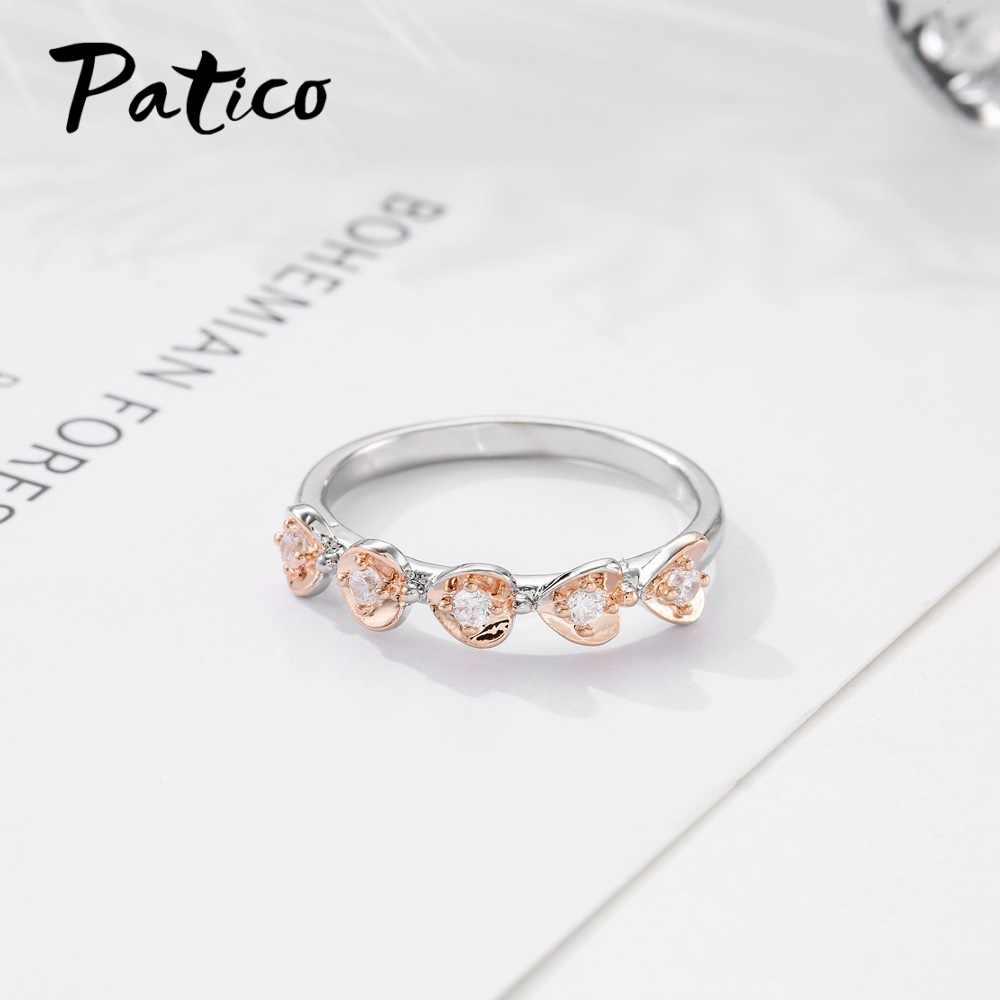 Classico Multi colore Mini Cubic Zirconia Anelli In Oro Rosa di Colore Reale Dell'argento Sterlina 925 Genuino di Marca di Trasporto Libero