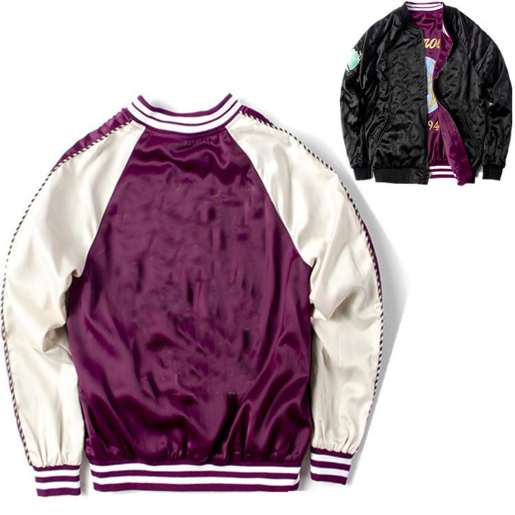 ddc12640d Embroidery Bomber Jacket Smooth Men Sukajan Yokosuka Souvenir Jacket  Streetwear Hip Hop Baseball Furry Black Coat Denim Jacket Fleece Collar  From ...