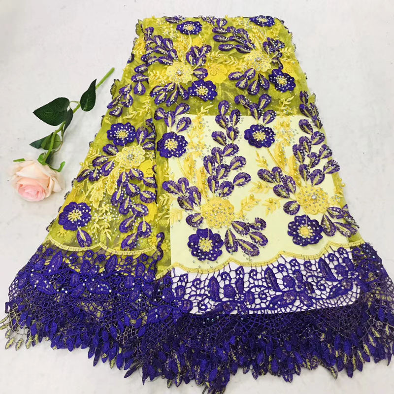 New African lace fabric 2019 Nigerian embroidery with beautiful gemstone lace fabric, French high-end chiffon lace fabricNew African lace fabric 2019 Nigerian embroidery with beautiful gemstone lace fabric, French high-end chiffon lace fabric
