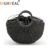 HIGHREAL New Handmade Bag Women Pompon Beach Weaving Ladies Straw Bag Wrapped Beach Bag Moon Shaped Bag