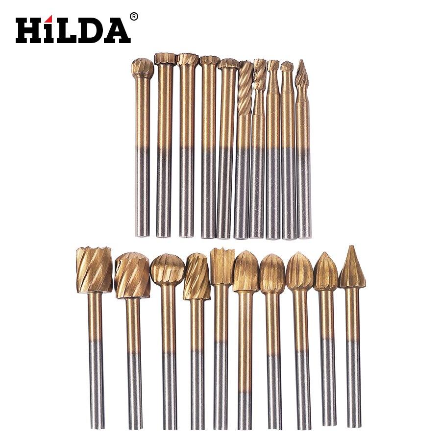 HILDA 20 pièces HSS Dremel routage titane fraisage bois couteau rotatif coupe-fichiers sculpture sur bois sculpté accessoires de coupe