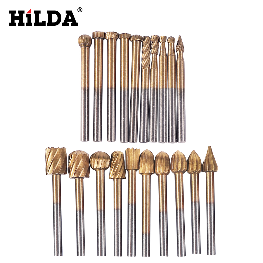 HILDA 20pcs HSS Dremel Routing Titanium Milling Wood Rotary Knife File Cutters Woodworking Carving Carved Cutter Accessories