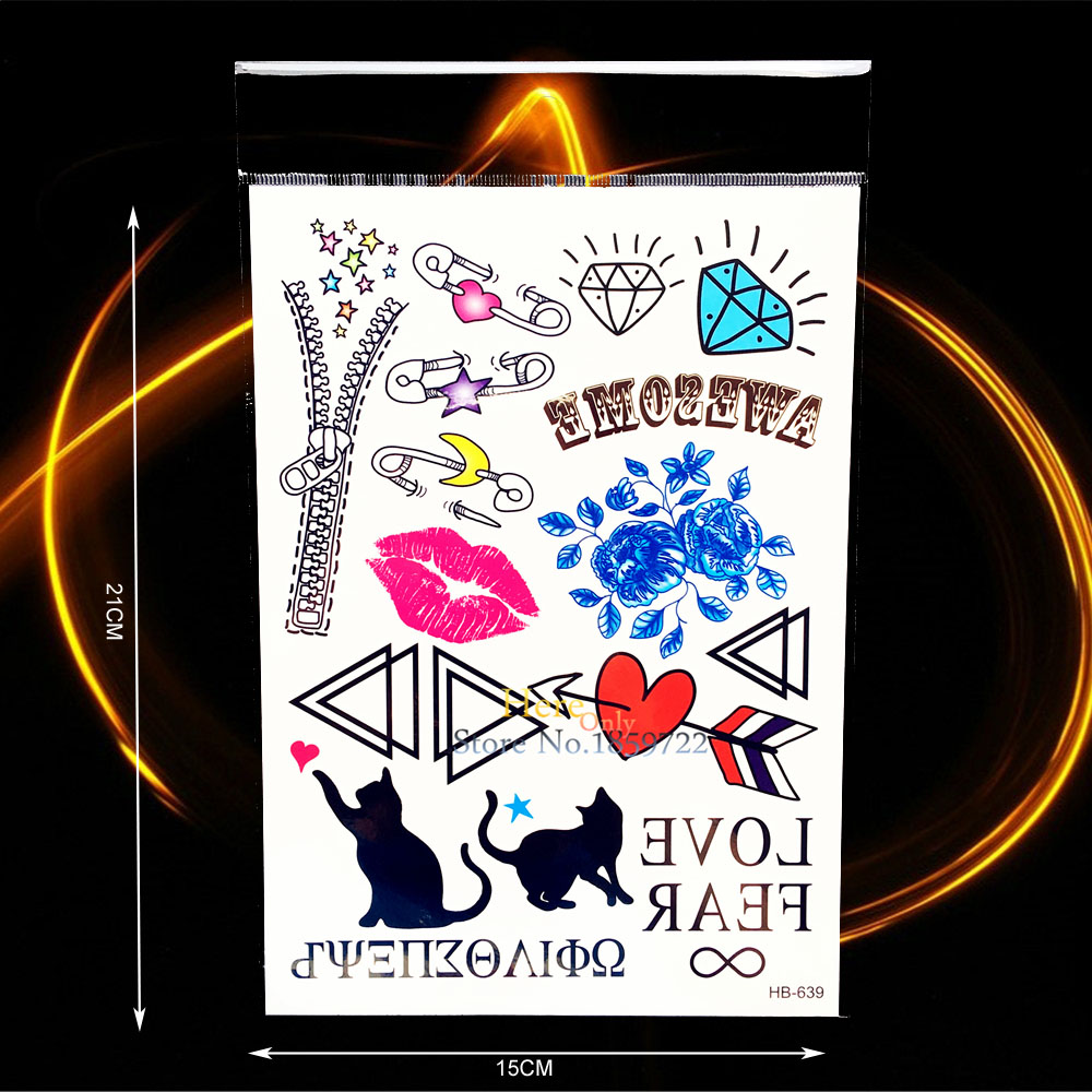 Fashion DIY Fake Tattoo Arm Face Decals Lip Cat Pin Zip Diamond Design Body Hand Art Waterproof Temporary Tattoo Stickers HHB639