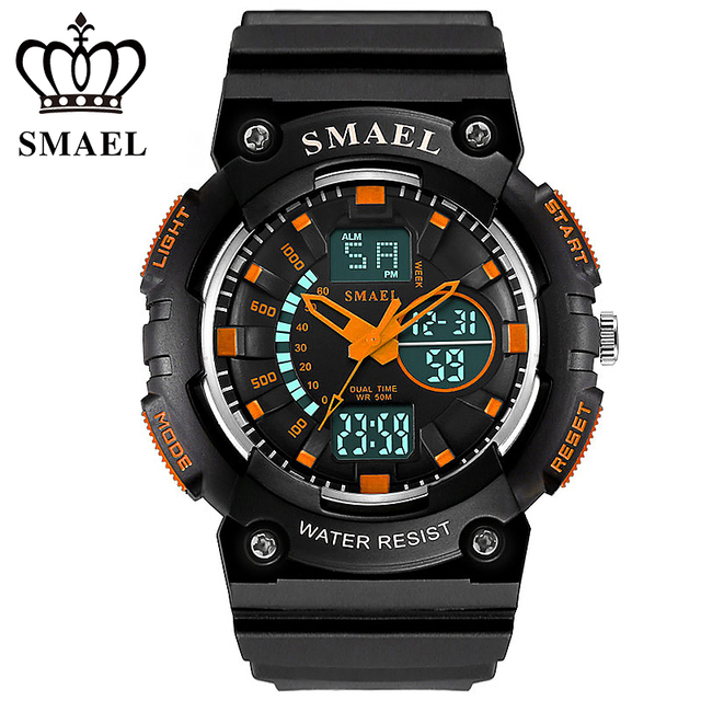 SMAEL Dual Time Display Sport Watches LED Digital Quartz Waterproof Wristwatch relogio masculino esportivo Clock Men Gift WS1539
