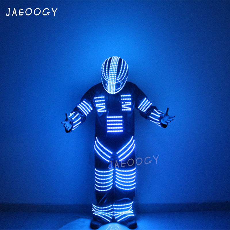 High quality LED luminous color robot stilt clothing stage performance fluorescent gloves Halloween party flashing lights helmetHigh quality LED luminous color robot stilt clothing stage performance fluorescent gloves Halloween party flashing lights helmet