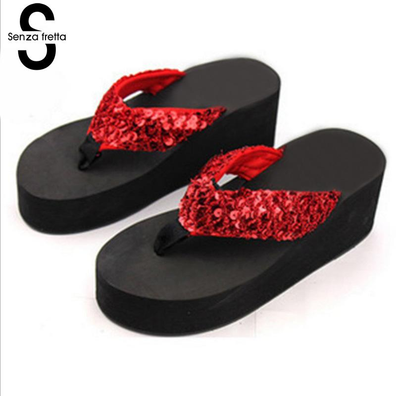 Senza Fretta Summer Flip Flops Woman Shoes Wedges Beach Shoes Sandals Flip Flops Bling Sequins Slippers Flip Flops Shoe Women senza fretta men shoes flip flops beach sandals casual summer eva slippers shoes men casual non slip sandals flip flops shoes