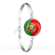 Schweiz, Schweden, Japan, Portugal, Nigeria Fußball Nationalen Flagge Logo 20mm Glas Dome Einstellbare Leder Armband(China)