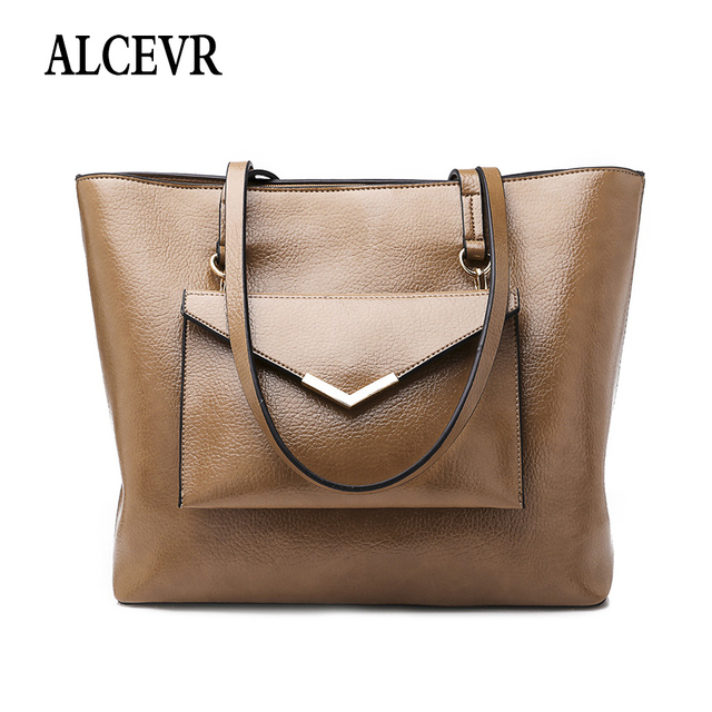 ALCEVR Simple Style Big Casual Tote + Purse Solid Color Pu Leather Shoulder  Bags For Women All-Match Business Bag Female Handbag de35455ec9fca