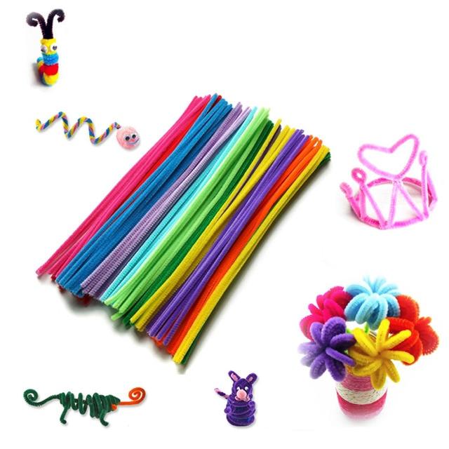 100 piezas bebé Montessori materiales Chenille niños juguete educativo manualidades coloridas niños juguetes creativos de peluche rompecabezas